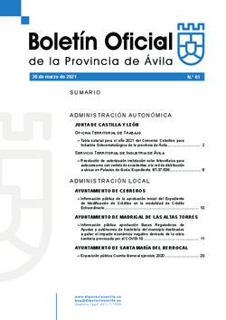 Boletín Oficial de la Provincia del martes, 30 de marzo de 2021