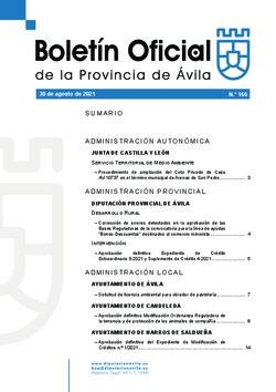 Boletín Oficial de la Provincia del lunes, 30 de agosto de 2021