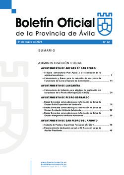 Boletín Oficial de la Provincia del miércoles, 31 de marzo de 2021