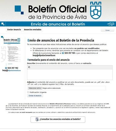 Modelo formulario para la publicación en el boletín