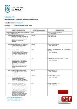 Contratos menores formalizados el 3º trimestre de 2020.