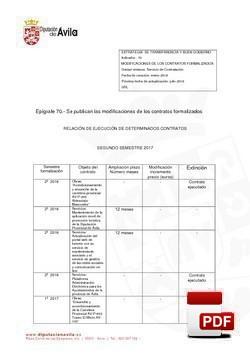 Modificaciones Contratos formalizados 2º semestre 2017.