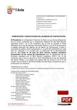 Composición y convocatoria de las mesas de contratación.