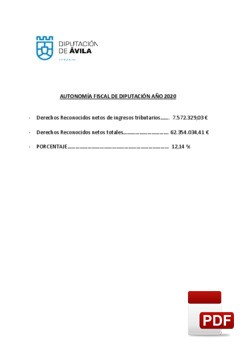 Autonomía fiscal de la Diputación 2020.