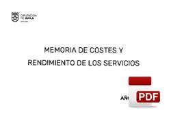 Costes/rendimientos de los servicios ejercicio 2019.