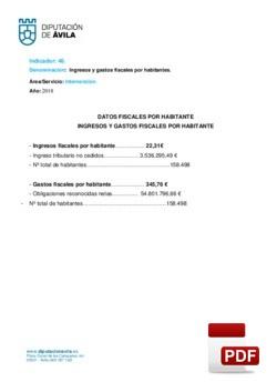 Ingresos y gastos fiscales por habitante 2018.