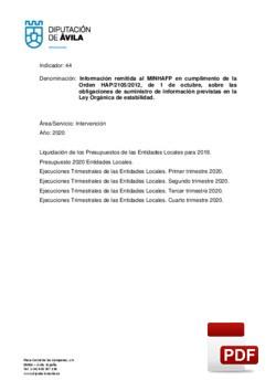 Información remitida al MINHAP durante el año 2020