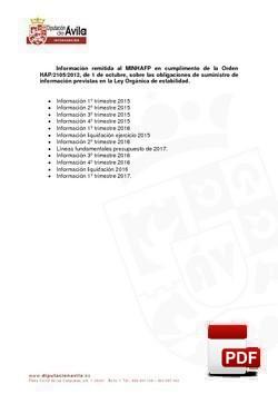 Información remitida al MINHAP a 1º de enero de 2018