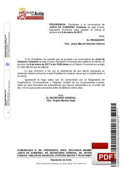 Orden del día, Pleno 1/2017 del lunes, 09 de enero de 2017