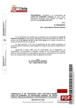 Orden del día, Pleno 3/2017 del lunes, 06 de febrero de 2017
