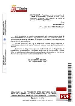 Orden del día, Pleno 8/2017 del lunes, 08 de mayo de 2017