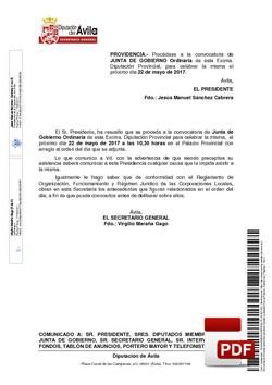 Orden del día, Pleno 10/2017 del lunes, 22 de mayo de 2017