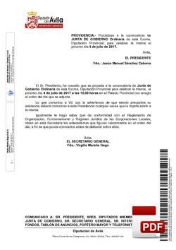 Orden del día, Pleno 13/2017 del martes, 04 de julio de 2017