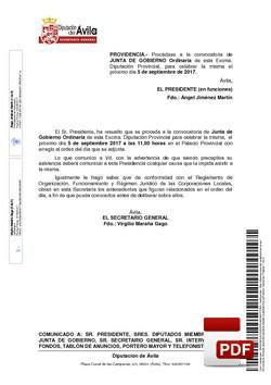 Orden del día, Pleno 15/2017 del martes, 05 de septiembre de 2017