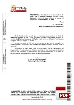 Orden del día, Pleno 20/2017 del lunes, 27 de noviembre de 2017