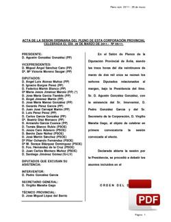 Pleno 05/2011 del martes, 29 de marzo de 2011