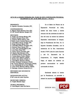 Pleno 06/2011 del martes, 26 de abril de 2011