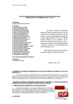 Pleno 2/2014 del lunes, 24 de febrero de 2014