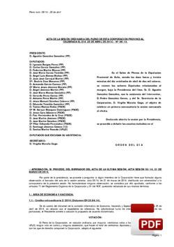 Pleno 6/2014 del lunes, 28 de abril de 2014