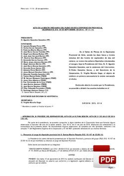 Pleno 11/2014 del martes, 30 de septiembre de 2014