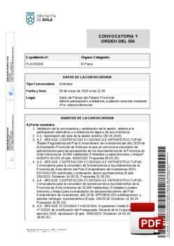 Orden del día, Pleno 06/2020 del jueves, 28 de mayo de 2020