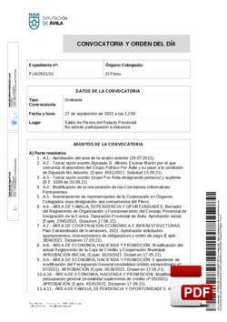 Orden del día, Pleno 10/2021 del lunes, 27 de septiembre de 2021