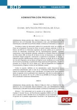 Ordenanza reguladora del precio público para la prestación del servicio de actividades culturales