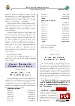 Ordenanza de la tasa por el otorgamiento de licencias para el aprovechamiento especial de la zona de dominio público de las carreteras provinciales.