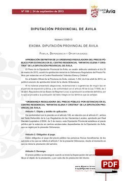 Ordenanza reguladora del precio público por estancias en el Centro Residencial