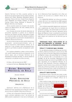 Ordenanza reguladora de la tasa por insersión de anuncios en el Boletín Oficial de la Provincia.