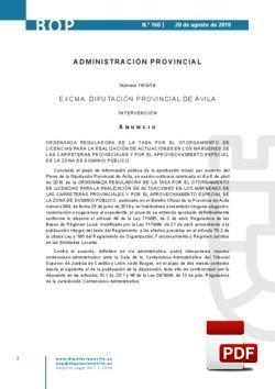 Ordenanza reguladora de la tasa por el otorgamiento de licencias para la realización de actuaciones en los márgenes de las carreteras provinciales y por el aprovechamiento especial de la zona de dominio público.