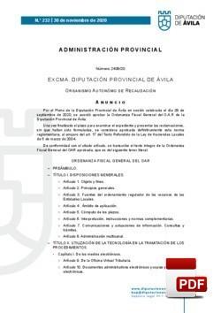Ordenanza fiscal general del O.A.R.
