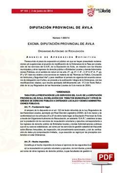 Ordenanza prestación del servicio del O.A.R.