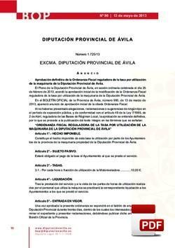 Ordenanza reguladora de la tasa por la utilización de maquinaria de la Diputación