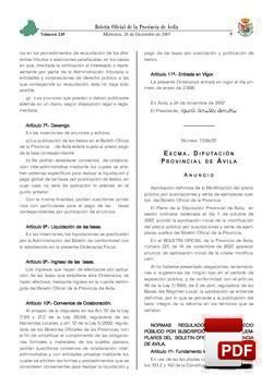 Ordenanza Reguladora del precio público por la suscripción y venta de ejemplares del Boletín Oficial de la Provincia.