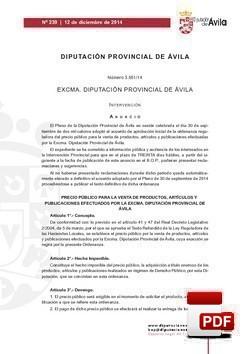 Ordenanza reguladora del precio público para la venta de productos, artículos y publicaciones.