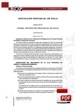 Modificación reglamento de la Caja Provincial de Crédito y Cooperación Municipal