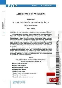 Reglamento de uso de la marca Ávila Auténtica.