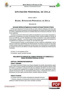 Reglamento creación del Consejo Provincial de Turismo