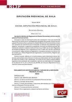 Reglamento de gestión documental y archivo de la Diputación Provincial de Ávila.