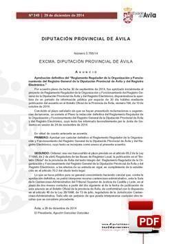 Reglamento Regulador de ls Organización y Funcionamiento del Registro General y del Registro Electrónico