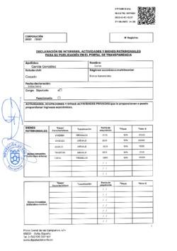 Declaración de intereses, actividades y bienes patrimoniales de Carlos García González