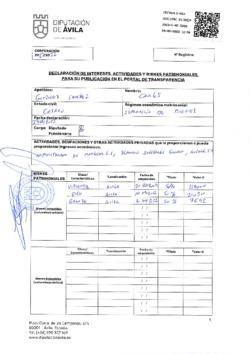 Declaración de intereses, actividades y bienes patrimoniales de Carlos González Sánchez