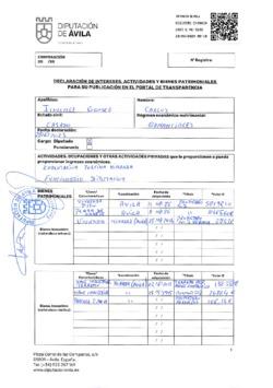 Declaración de intereses, actividades y bienes patrimoniales de Carlos Jiménez Gómez