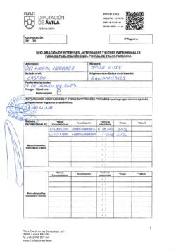 Declaración de intereses, actividades y bienes patrimoniales de José Luis del Nogal Herráez