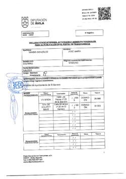Declaración de intereses, actividades y bienes patrimoniales de José María Manso González