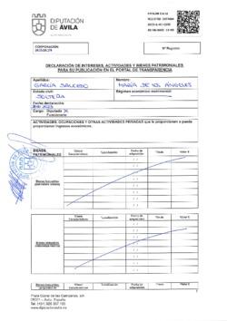 Declaración de intereses, actividades y bienes patrimoniales de María de los Ángeles García Salcedo