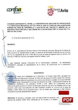 Convenio entre CONFAE y la Diputación de Ávila.