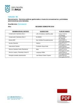 Servicios gestionados a través de concesionarios (2º Semestre 2018).