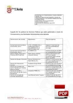 Servicios gestionados a través de concesionarios (1º Trimestre).